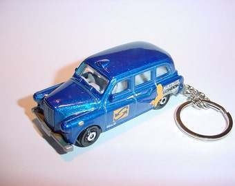 3D London Taxi custom keychain by Brian Thornton keyring key chain finished in blue color stock austin cab trim