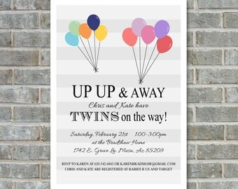 TWINS BABY SHOWER Invitation -Up up and away - balloon baby shower invitation - twins printable baby shower invitation - balloon baby shower