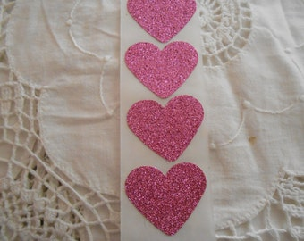 Large Hot Pink Fuchsia Glitter Shimmer Heart Wedding Event Envelope Seals - Sweet Love Stickers 25
