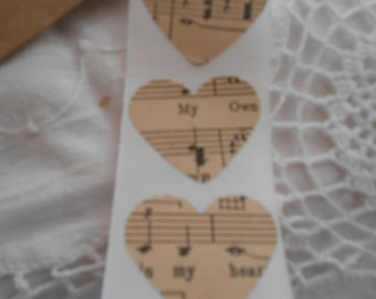 Large Vintage Music Sheet  Heart Wedding Event Envelope Seals - Sweet Love Stickers x 25