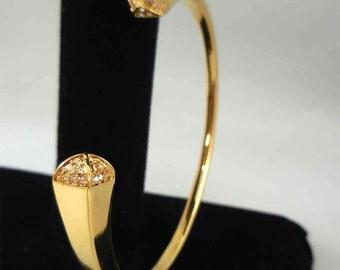 Gold Bangle Bracelet with Swarovski Crystals