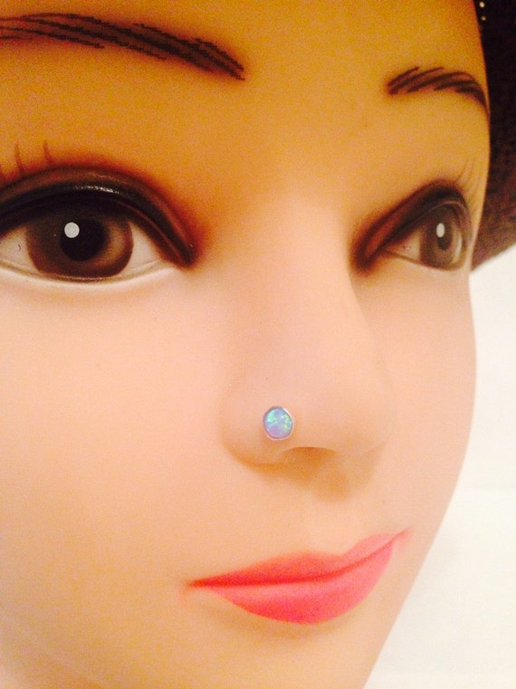 nose stud,piercing,925sterling silver, Nose stud hand mad,with 4 mm blue opal stone