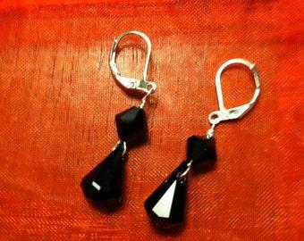 Crystal handmade earrings, black, drop/dangle, leverback