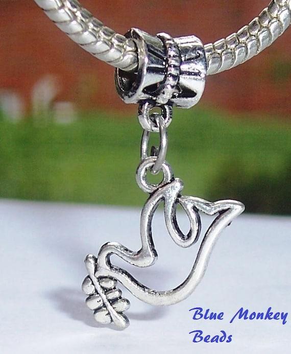 Charm Bracelet Bead Tibetan Silver 'Dove Bird' Fits European Charm Bracelets Design Db
