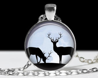 Moon and Deer Silhouette Necklace Deer Jewelry Necklace Wearable Art Pendant Charm