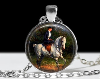 Fox Hunt Horse Necklace Horse Jewelry Necklace Wearable Art Pendant Charm