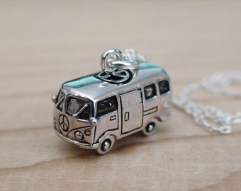 VW Bus Necklace - 925 Sterling Silver - Volkswagen Jewelry Bus Hippie Love
