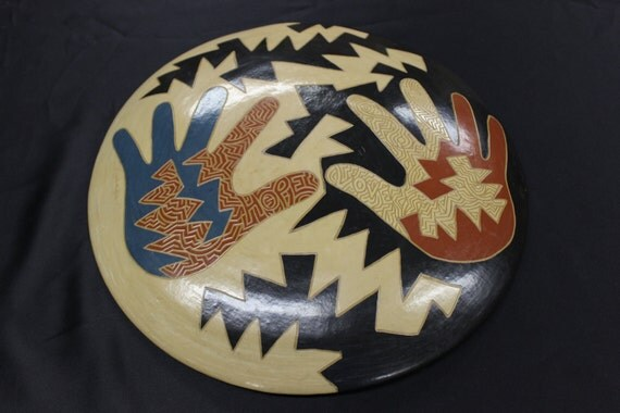 """Hope and Love """" Original design, handcrafted , wood fired, burnished, sgraffito Plate. Nicaragua Diversity project13 1/4 dia."""