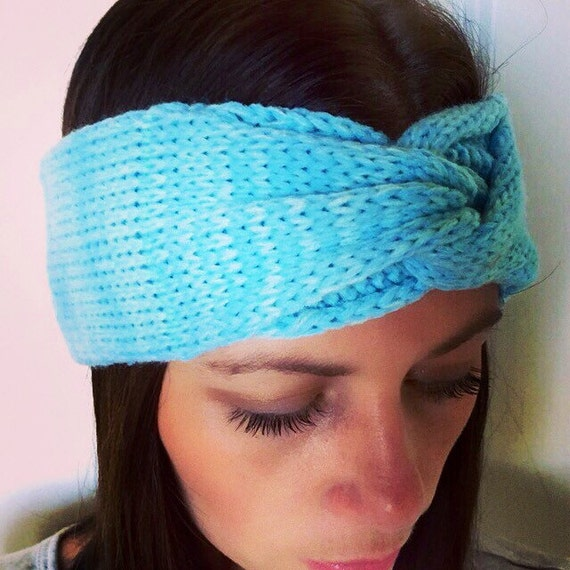 Twist Headband Knitting Pattern : Teal Twist Knit headband Teal Knit Crochet Head by Twigandvineshop