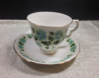Vintage 1960's Royal Vale #8369 Blue & Green Floral Bone China English Tea Cup