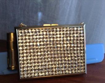 vintage rhinestone compact carryall