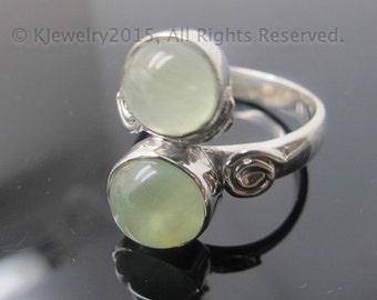 Prehnite Ring , Sterling Silver Ring , Gemstone Ring