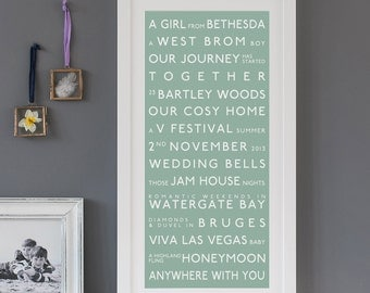 Couples  Destination Print. Personalised, custom bus blind tram scroll subway. typographic poster giclee print gift for him her bespoke