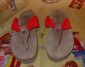 Womens Mephisto Huly Orange Suede Tan Leather Thong Sandals Size Euro 39 US 8.5