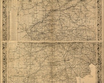 24x36 Poster; Colton'S Map Of The State Of Indiana 1860