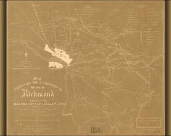 24x36 Poster; Gen Mcclellans Map Of Richmond Virginia Area 1862
