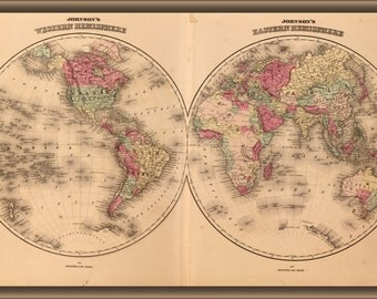 24x36 Poster; Johnsons World Map 1862