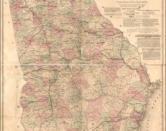 24x36 Poster; Lloyds Topographical Map Of Georgia 1864