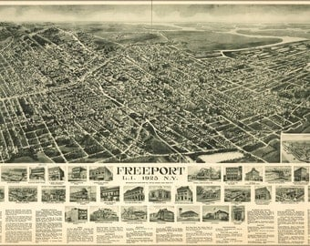 24x36 Poster; Map Freeport Long Island New York 1925