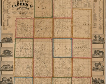 24x36 Poster; Map Of Lapeer Co., Michigan 1863