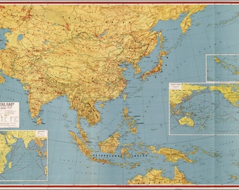 24x36 Poster; Wwii Map Of Southeast Asia Japan China India 1943