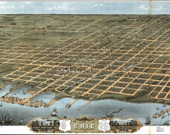 24x36 Poster; Birdseye View Map Of Erie, Pennsylvania 1870