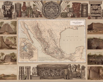 24x36 Poster; Historical And Archaeological Map Of Mexico 1885