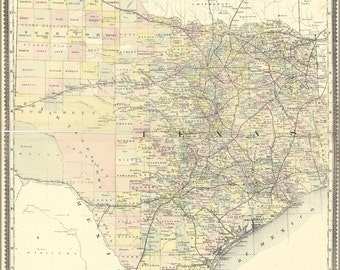 24x36 Poster; Map Of Texas 1889