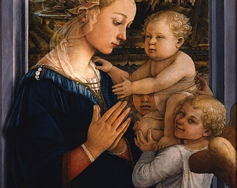 24x36 Poster; Madonna And Child With Two Angels By Fra Filippo Lippi