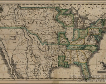 24x36 Poster; Map Of The United States C1823