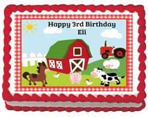 RED BARNYARD Farm Animals Edible Birthday Party Cake Or cupcake Toppers  -  Choose From 10 Frosting Sheet Sizes Personalized