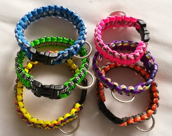 Cat or small breed dog collar, Paracord 550 - gutted, Custom made, Non-adjustable, Many colours.