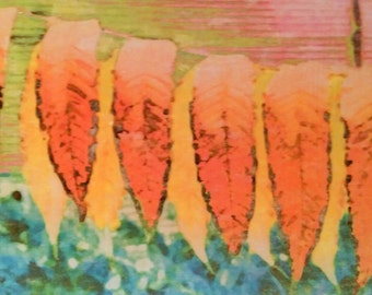 Original flower print [altered photo transferred to watercolor paper] Title: Sumac Leaves [8 x 10 inches]