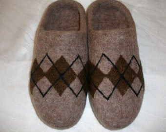 Men's Wool Felt Slippers with ornaments - handmade felt organic wool house shoes