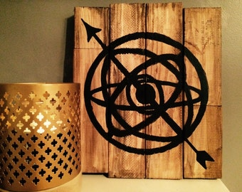 Armillary Sphere with Arrow Hand-Painted on Wood Planks 14x16""