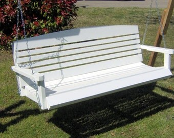 Brand New 5 Foot Painted American Style White Porch Swing - with Hanging Chain or Rope - Free Shipping