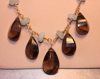 Smoky Quartz & Aquamarine Necklace, 14k Gold filled, hand made