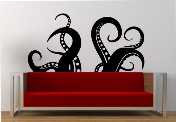 octopus tentacles wall decal large vinyl sticker by stateofthewall. Black Bedroom Furniture Sets. Home Design Ideas