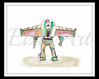 Buzz Lightyear of star command - art print - pixar - Toy Story - watercolor and ink wash