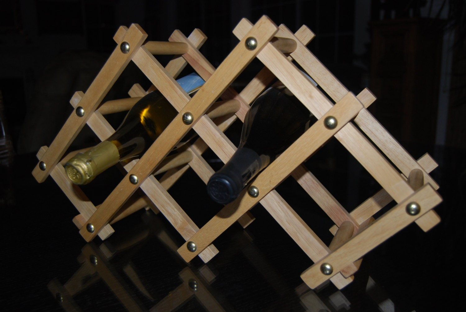 Small Wooden Wine Racks ~ Table top wine rack small wood vintage collapsible