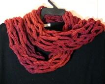 Handmade wool scarf,orange red,100% lana merino