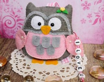 Sweet Felt Owl Keyring