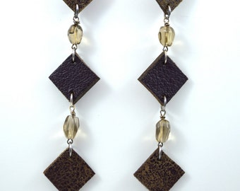 Plum and Distressed Leather Diamonds and Smoky Quartz Geo Earrings