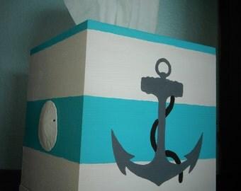 Hand painted nautical tissue box holder