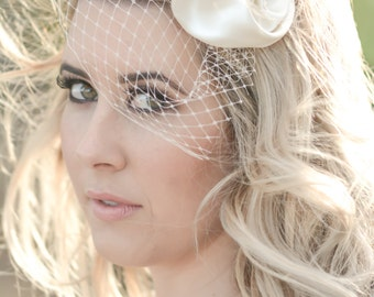Ivory Silk pearl birdcage veil
