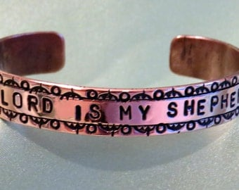 "3/8"" wide, medium sized, stamped copper bracelet, Psalm 23 phrase"