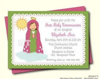 Virgencita Modern First Communion Inviations- Virgen de Guadalupe Primera Communion Invitation- Digital Printable