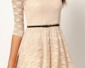 Summer Woman Beige Cream Lace Little Dress,Smart Dress, Mini Dress, Party Dress, Vintage Preppy look Dress,Burgundy,Flared 3/4 Sleeves Dress