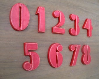 Modern House Numbers - Bloq Font- Red