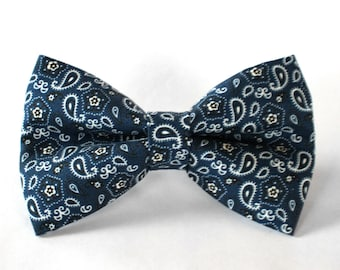 Blue Bandana Bow Tie | Bow Tie for Men | For Him | Bowtie | Dog Bow Tie | Mens Bow Tie | Boys Bow Tie | Wedding Bow Men | Groomsmen